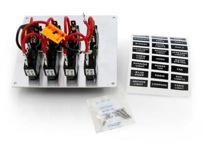 Панель бортового питания 4 тумблера с автоматами, алюминий