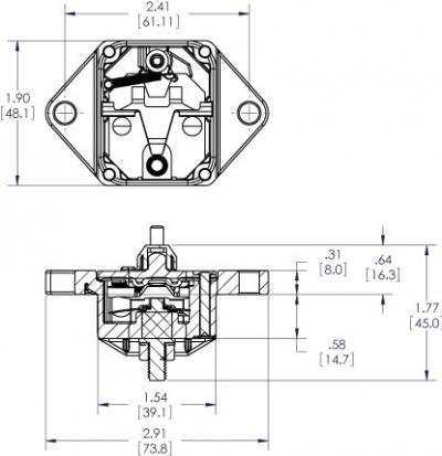 Автомат защиты сети DC48V флажковый врезной