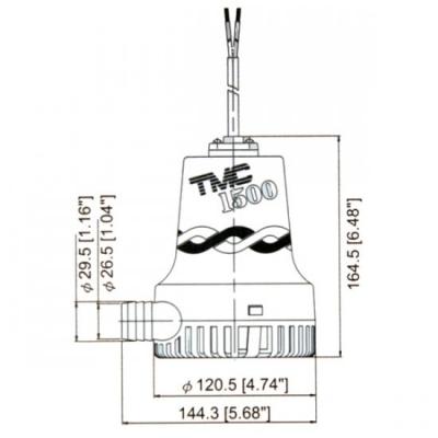 Помпа осушительная, 12 В, 1500GPH (5677.5 л/ч)
