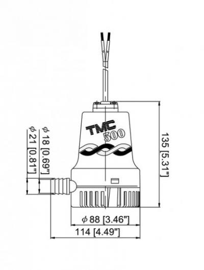 Помпа осушительная, 12 В, 500GPH (1892.5 л/ч)