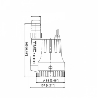 Помпа осушительная, 12 В, 1000GPH (3785 л/ч)