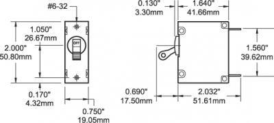 Автомат защиты сети AC250V/DC65V тумблер