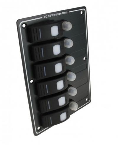 Панель бортового питания 6 переключателей с автоматами, алюминий