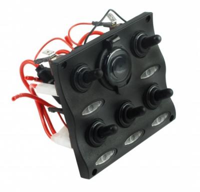 Панель бортового питания с разъемом прикуривателя и LED индикацией, 5 тумблеров