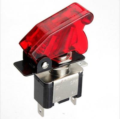 Выключатель (тумблер) на панель с подсветкой и ракетной крышкой 12v 20a