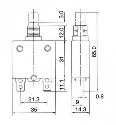 Автомат защиты сети AC250V/DC50V кнопка