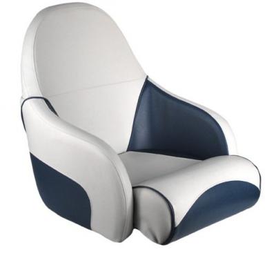 Кресло OCEAN 51 мягкое, подставка, обивка бело-синий