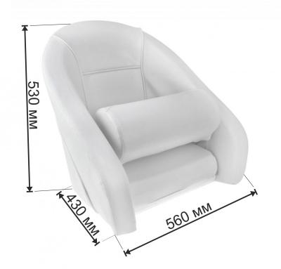 Кресло ROMEO мягкое, подставка, белая обивка