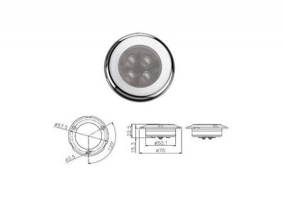 Светильник каютный 4LED, D70 мм