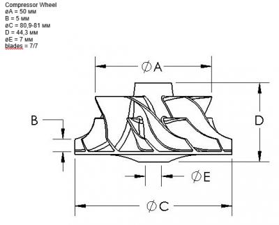 Крыльчатка воздушная турбокомпрессора (турбины) AD41
