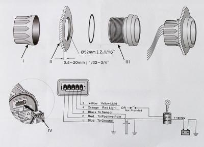 Указатель угла поворота руля, д. 52 мм